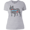 French Bulldog Love Subway Art Style Womens Boyfriend Fit T-Shirt - Women's Tees I Love Frenchie Bulldogs