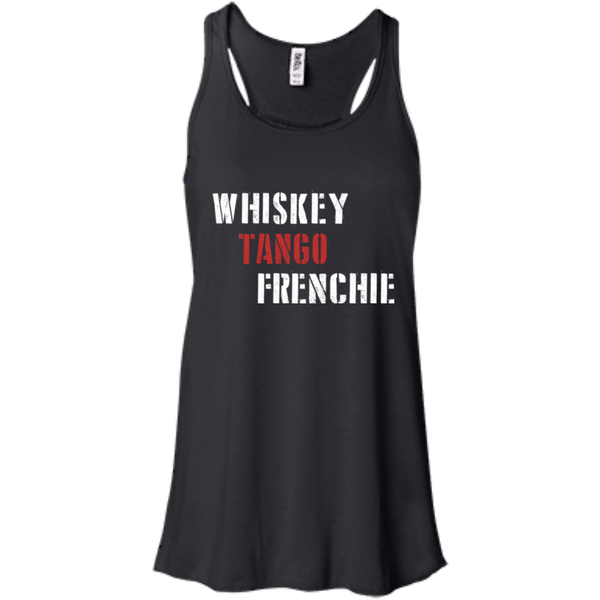 Whiskey Tango Frenchie Womens Flowy Racerback Tank - Women's Tanks I Love Frenchie Bulldogs