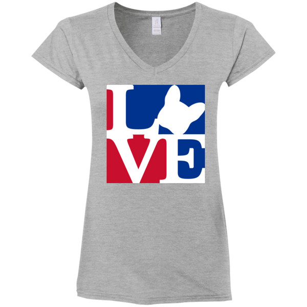 Frenchie Love Womens Fit V-Neck T-Shirt - Women's Tees I Love Frenchie Bulldogs