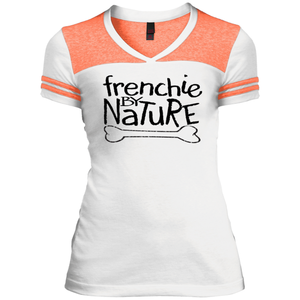 Frenchie by Nature Womens Varsity V-Neck T-Shirt - Women's Tees I Love Frenchie Bulldogs