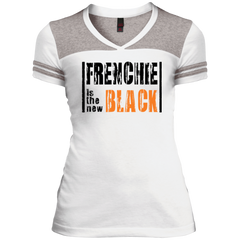 Frenchie is the New Black Womens Varsity V-Neck T-Shirt - Women's Tees I Love Frenchie Bulldogs