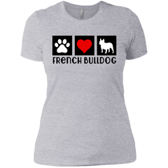 Heart French Womens Boyfriend Fit T-Shirt - Women's Tees I Love Frenchie Bulldogs