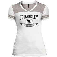UC Barkley Womens Varsity V-Neck T-Shirt - Women's Tees I Love Frenchie Bulldogs