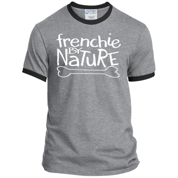 Frenchie By Nature  Ringer Tee - Men's T-Shirts I Love Frenchie Bulldogs