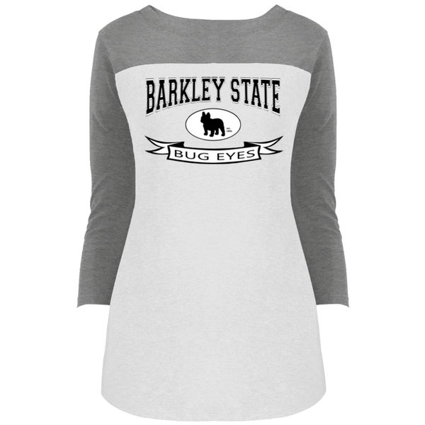 Barkley State Bug Eyes Womens Rally 3/4 Sleeve T-Shirt - Women's Tees I Love Frenchie Bulldogs