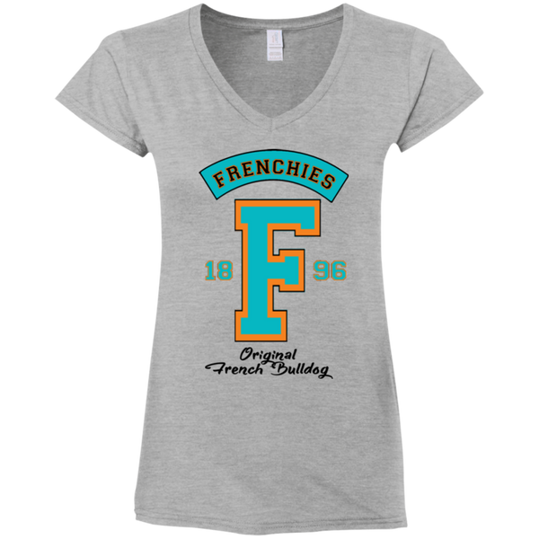 Frenchies Est 1896 Womens Fit V-Neck T-Shirt - Women's Tees I Love Frenchie Bulldogs