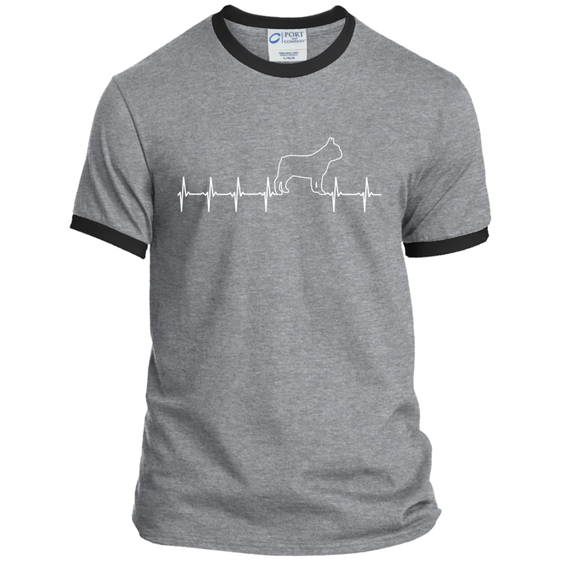 French Bulldog Heartbeat Ringer Tee - Men's T-Shirts I Love Frenchie Bulldogs