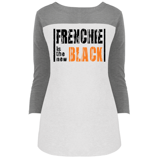 Frenchie is the New Black Womens Rally 3/4 Sleeve T-Shirt - Women's Tees I Love Frenchie Bulldogs