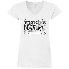 Frenchie By Nature Womens Fit V-Neck T-Shirt - Women's Tees I Love Frenchie Bulldogs