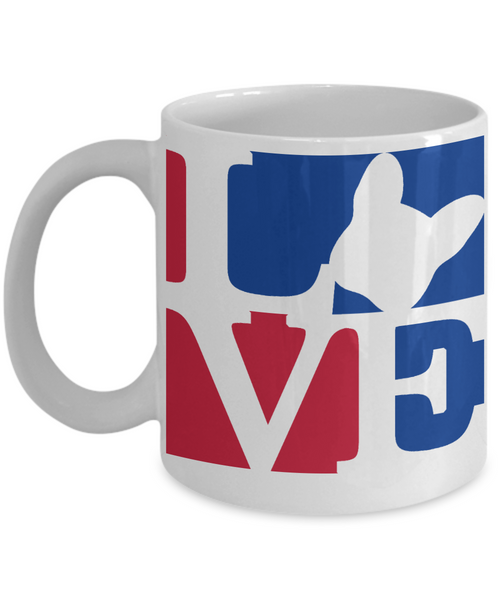 Love Red White and Blue - Coffee Mug I Love Frenchie Bulldogs