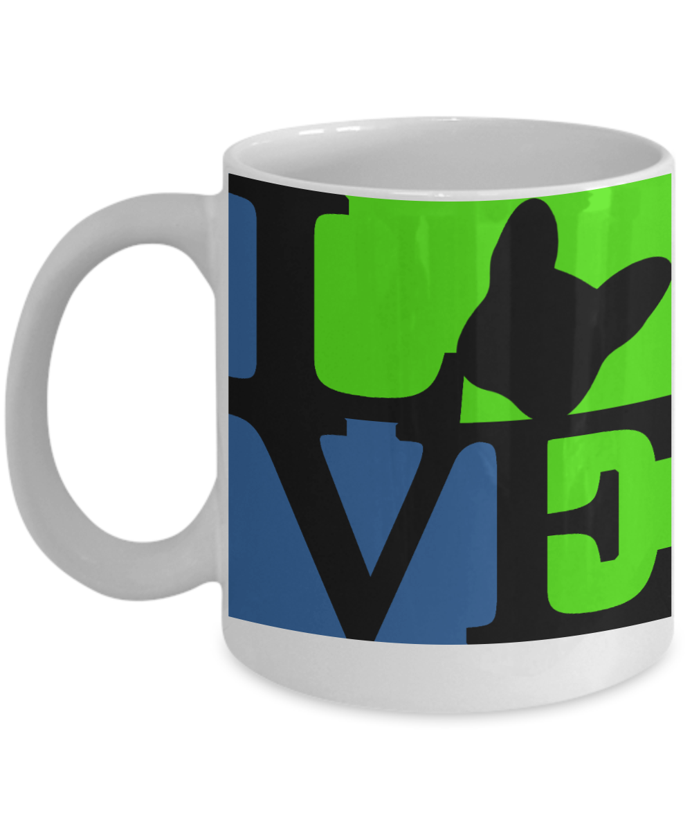 Love Blue Seafoam and Black - Coffee Mug I Love Frenchie Bulldogs