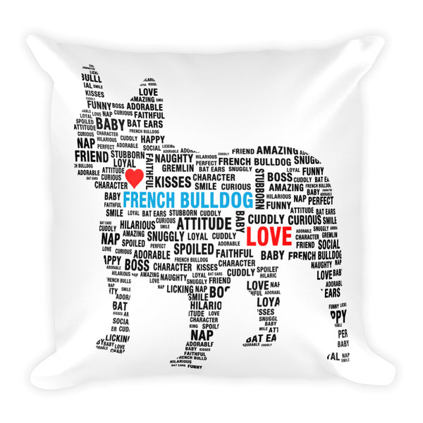 French Bulldog Subway Print Square Pillow - Pillows I Love Frenchie Bulldogs