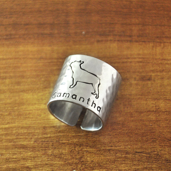 Personalized French Bulldog Wide Band Ring - Ring I Love Frenchie Bulldogs