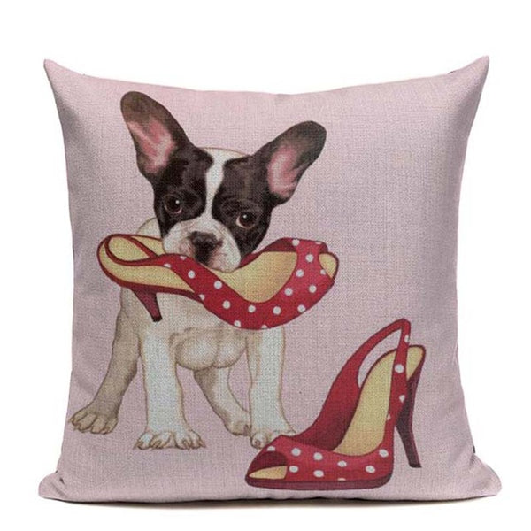 French Bulldog Linen Sofa Pillow Covers - Pillows I Love Frenchie Bulldogs