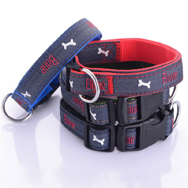 """Bone"" Denim Adjustable Dog Collar - Collars I Love Frenchie Bulldogs"