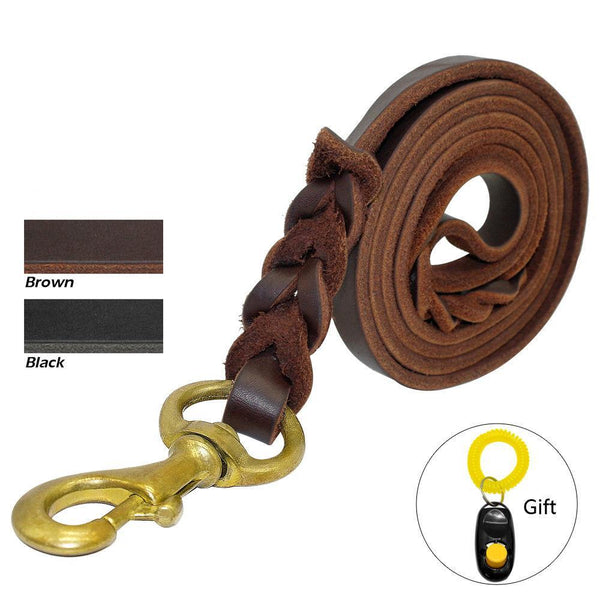 Military Grade Braided Leather Leash With Free Training Clicker - Leash I Love Frenchie Bulldogs