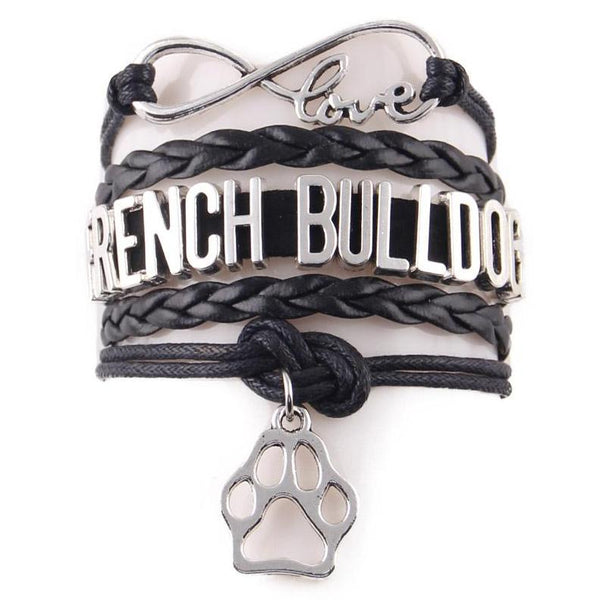 French Bulldog Leather Wrap Infinity Bracelet - Bracelet I Love Frenchie Bulldogs