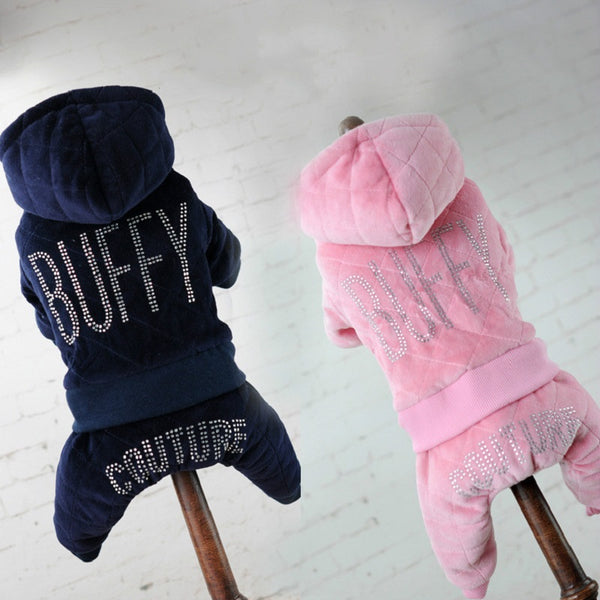 """Buffy Couture"" Posh Hoodie Velvet Track Suit - Dog Clothing I Love Frenchie Bulldogs"