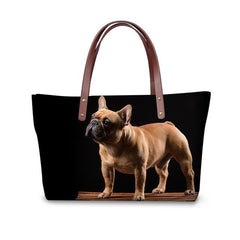 Women's French Bulldog Top Handle Shoulder Tote Purse - Bags I Love Frenchie Bulldogs