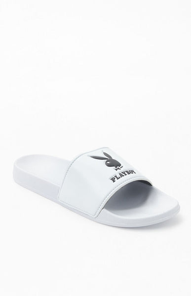 Playboy White Slide Sandals