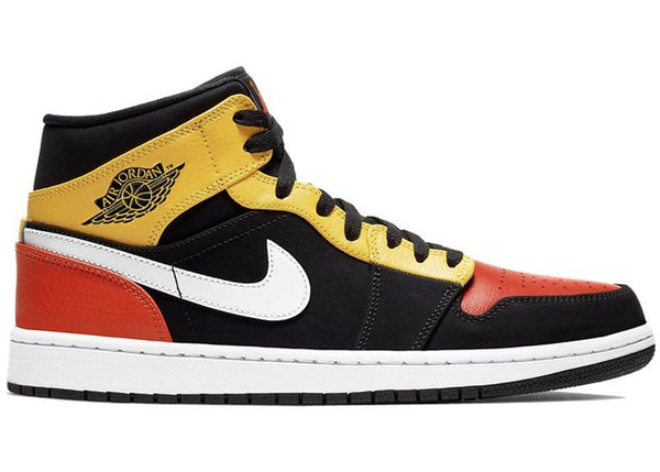 Air Jordan 1 Mid Black Amarillo Orange