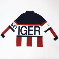 Kith x Tommy Hilfiger Colorblock Logo 1/4 Zip Up Navy / Red