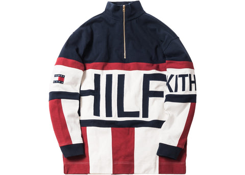 b3a049e59b Kith x Tommy Hilfiger Colorblock Logo 1 4 Zip Up Navy   Red