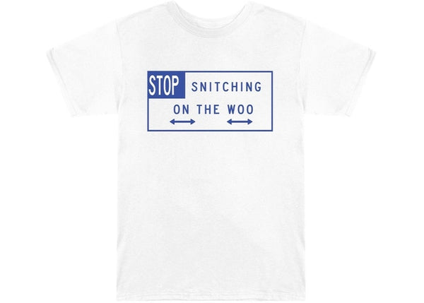Pop Smoke x Vlone Stop Snitching T-Shirt White/Blue