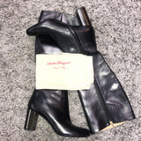Salvatore Ferragamo 10cm Filip Leather Boots Black Preowned