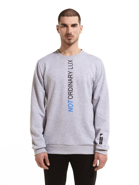 Not Ordinary Luxury Grey Crewneck Black/Blue Print