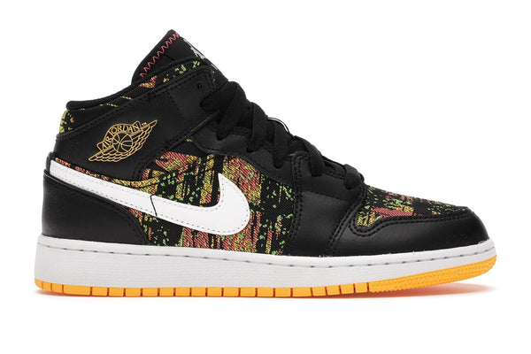 Air Jordan 1 Mid Black Laser Orange Bright Melon (GS)