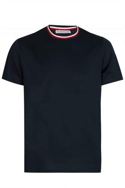 MONCLER Stripe Collar Tee Navy