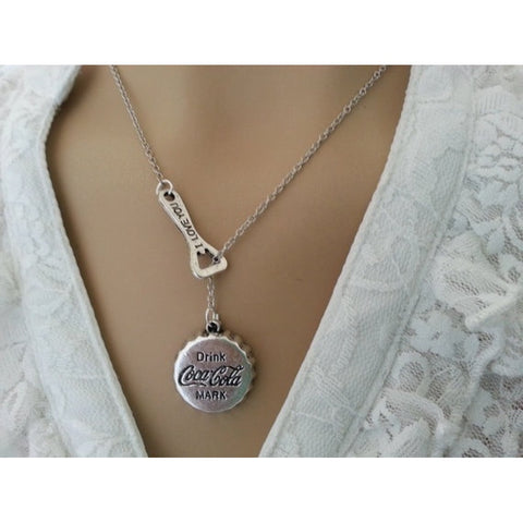 Coke Bottle Cap and Opener Necklace Coca Cola Pendant Bottle Cap Necklace Retro Jewelry (Color: Antique silver)