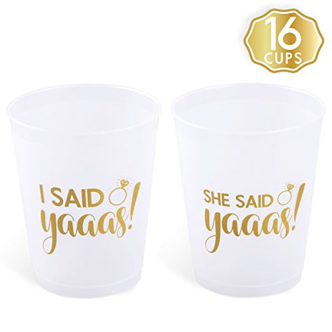 She Said Yaaas Bachelorette Party + Bridal Shower Cups w/ BONUS I Said Yaaas Style - 16 Count, 16 Oz.