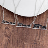 Mama Bear Engraved Animal Pendant Necklace