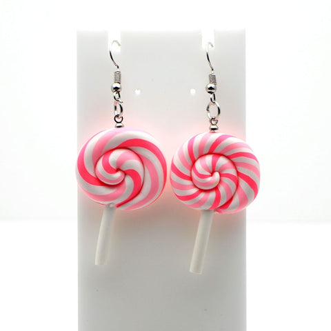 P834 Rainbow swirl Lollipop dangle Earrings earring candy costume trendy Style woman girl Jewelry