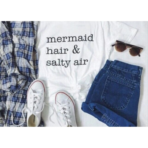 """mermaid hair & salty air"" Pattern Harajuku Style White T-Shirt"