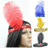 Feather Headband 1920's Flapper Sequin Headpiece Costume Head Band Party Favor