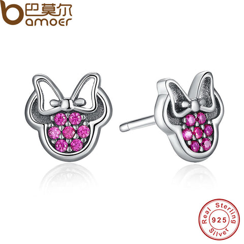 .925 Sterling Silver Sparkling Minnie Fashion Jewelry