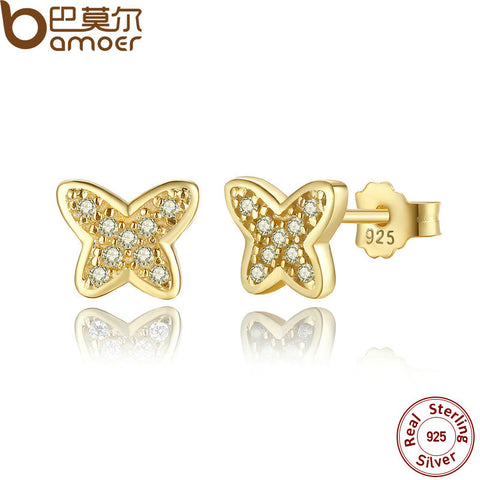 .925 Sterling Silver Petite Butterfly Stud Earrings