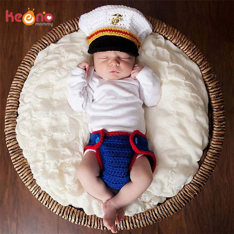 Marine Corps Baby Boy Crochet Hat and Diaper Cover