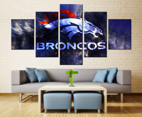 5 Panel Canvas Printed NFL Denver Broncos Painting For Living Picture Wall Art HD Decor Modern Artworks American football Poster