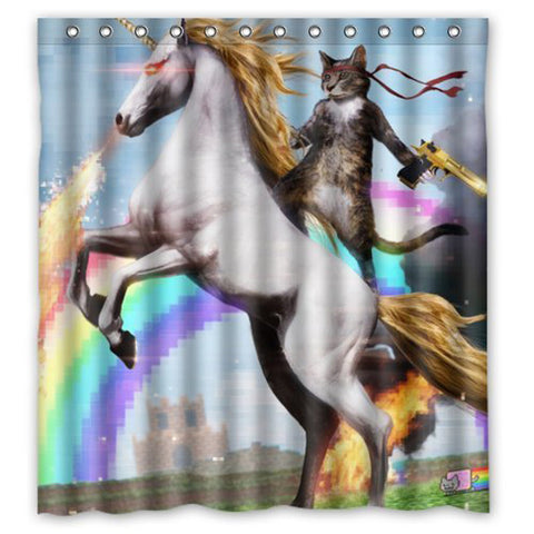 Mystical Unicorn and Cat Custom Fabric Waterproof Bathroom Shower Curtain