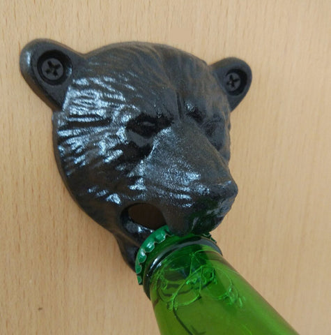 Vintage Style Cast Iron Bear Wall Mounted Glass Bottle Opener