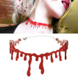 2PC Halloween Blood Red Stitch Choker Necklace with 2 mounted cut bloodstains