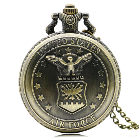 Vintage Antique Retro Bronze Air Force Quartz Pocket Watch