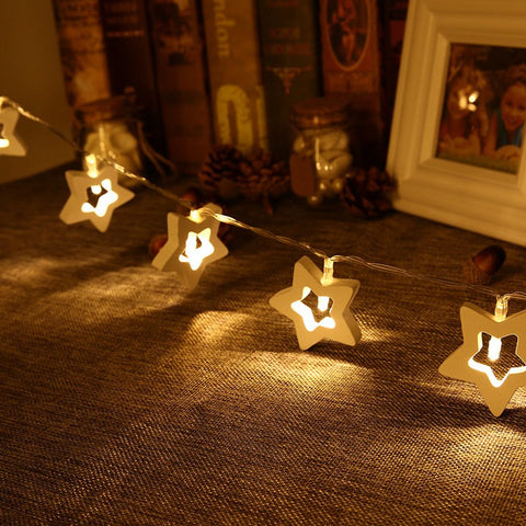 Wooden Star Shaped 1.2M 10 LED String Light Battery Fairy String Light LED Holiday Light For Christmas Wedding Party Decoration