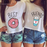 EAST KNITTING Best Friends T Shirt Donut And Coffee Duo Flowy Print Tees Couple Tops