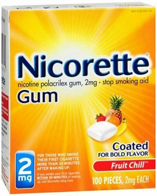 Nicorette Nicotine Gum 2mg Fruit Chill, 100 Count, EXP DATE 03/2021