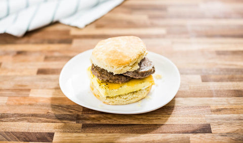 Biscuit with egg and sausage